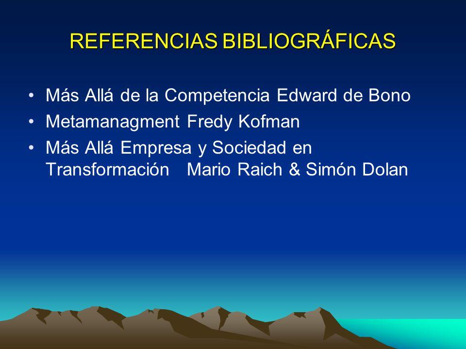 REFERENCIAS BIBLIOGRÁFICAS Más Allá de la Competencia Edward de Bono Metamanagment Fredy Kofman Más Allá Empresa y Sociedad en Transformación Mario Raich & Simón Dolan