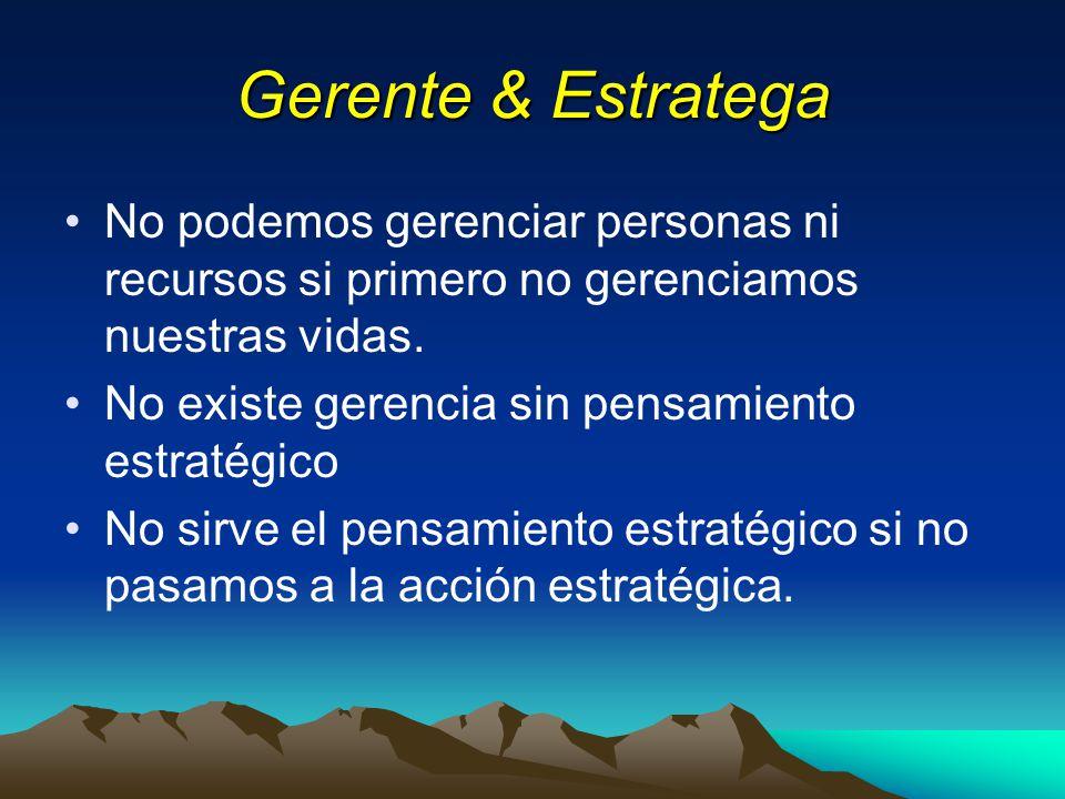 Gerente & Estratega No podemos gerenciar personas ni recursos si primero no gerenciamos nuestras vidas.