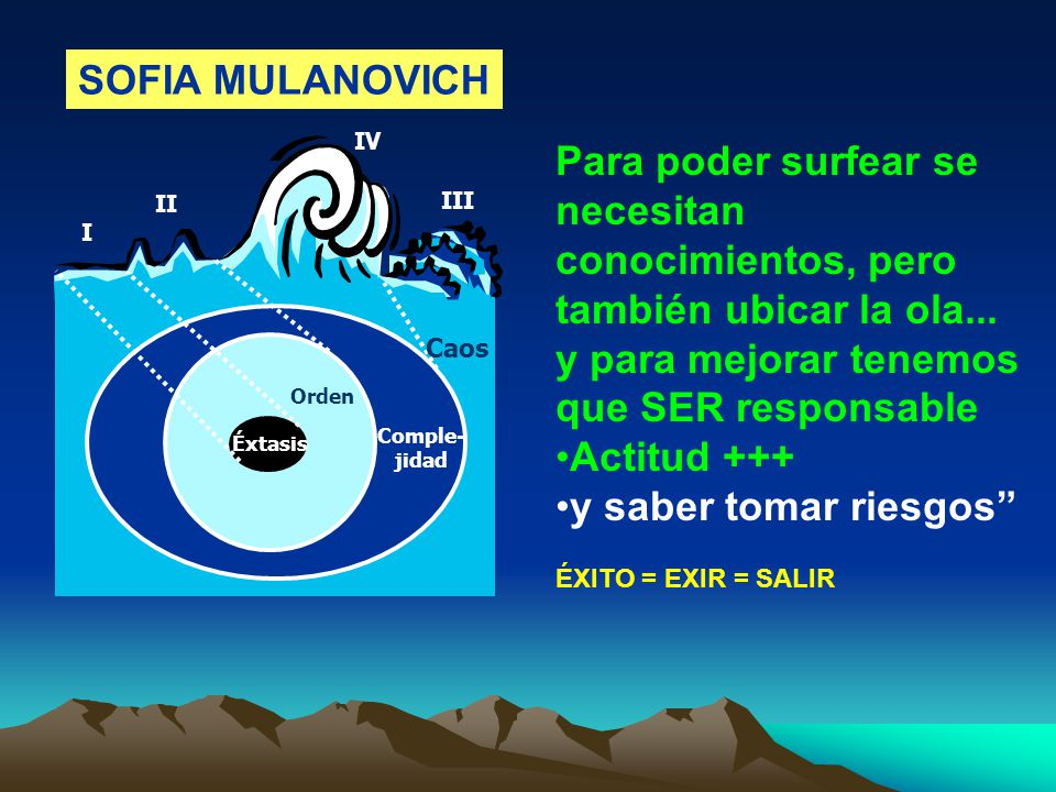I II III IV Caos Comple- jidad Orden Éxtasis Para poder surfear se necesitan conocimientos, pero también ubicar la ola...