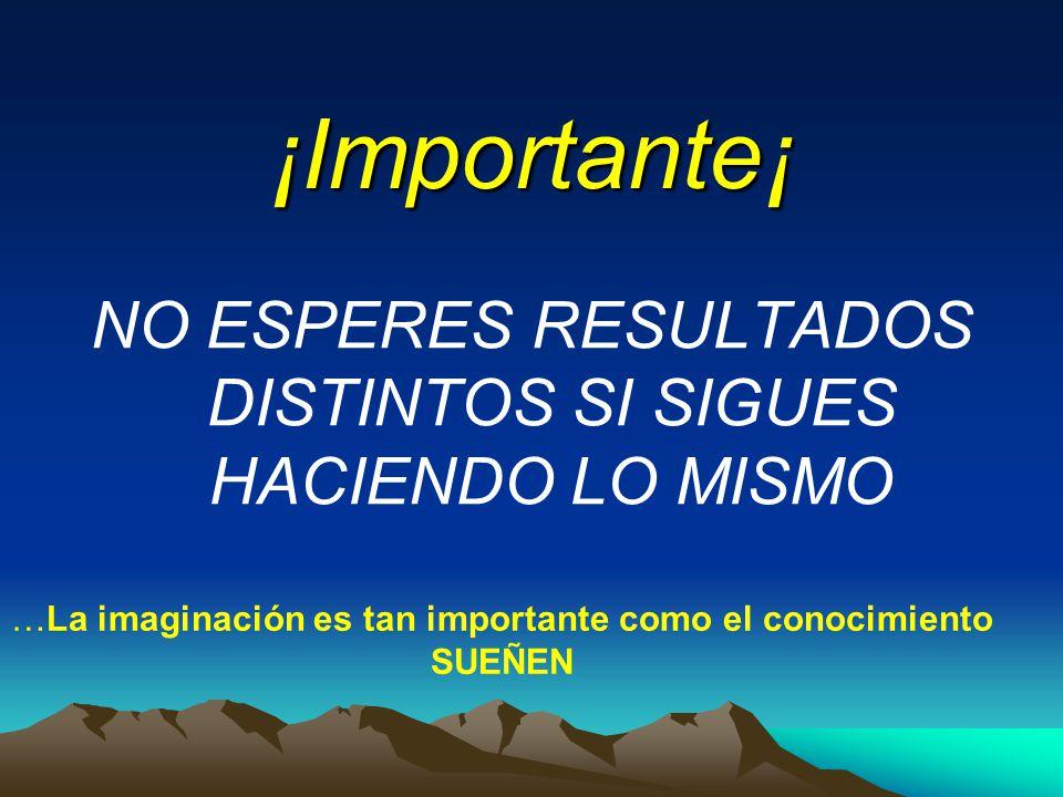 ¡Importante¡ NO ESPERES RESULTADOS DISTINTOS SI SIGUES HACIENDO LO MISMO …La imaginación es tan importante como el conocimiento SUEÑEN