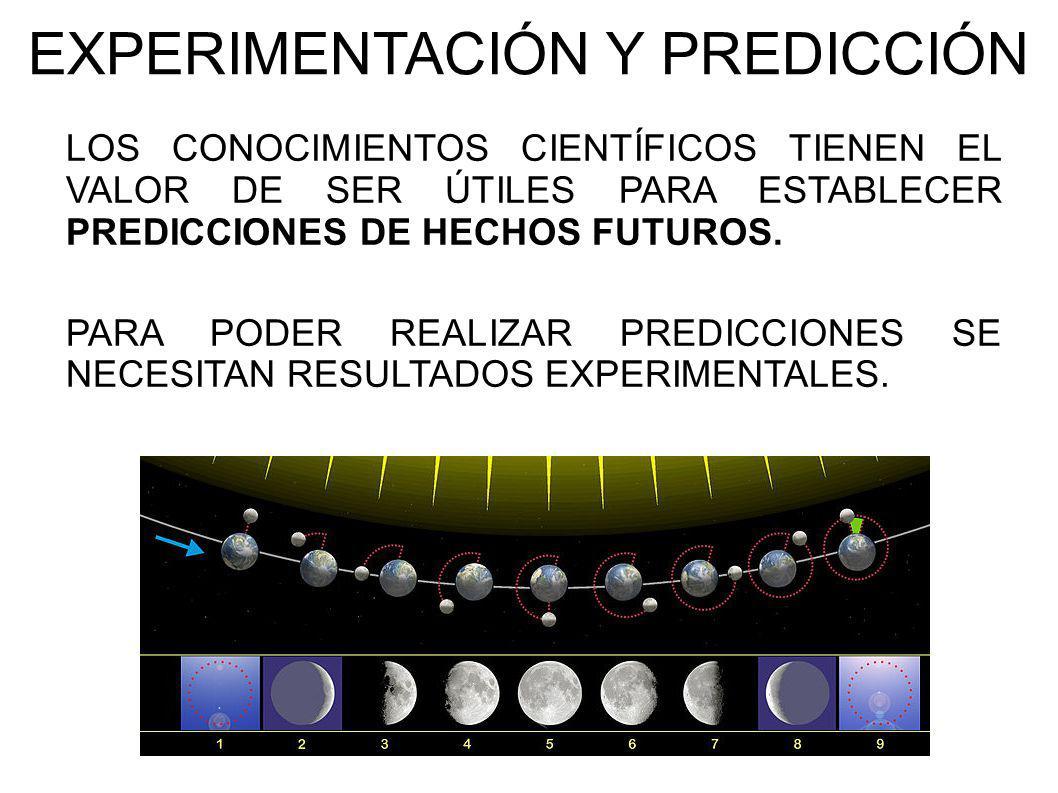 EXPERIMENTACIÓN Y PREDICCIÓN LOS CONOCIMIENTOS CIENTÍFICOS TIENEN EL VALOR DE SER ÚTILES PARA ESTABLECER PREDICCIONES DE HECHOS FUTUROS. PARA PODER RE