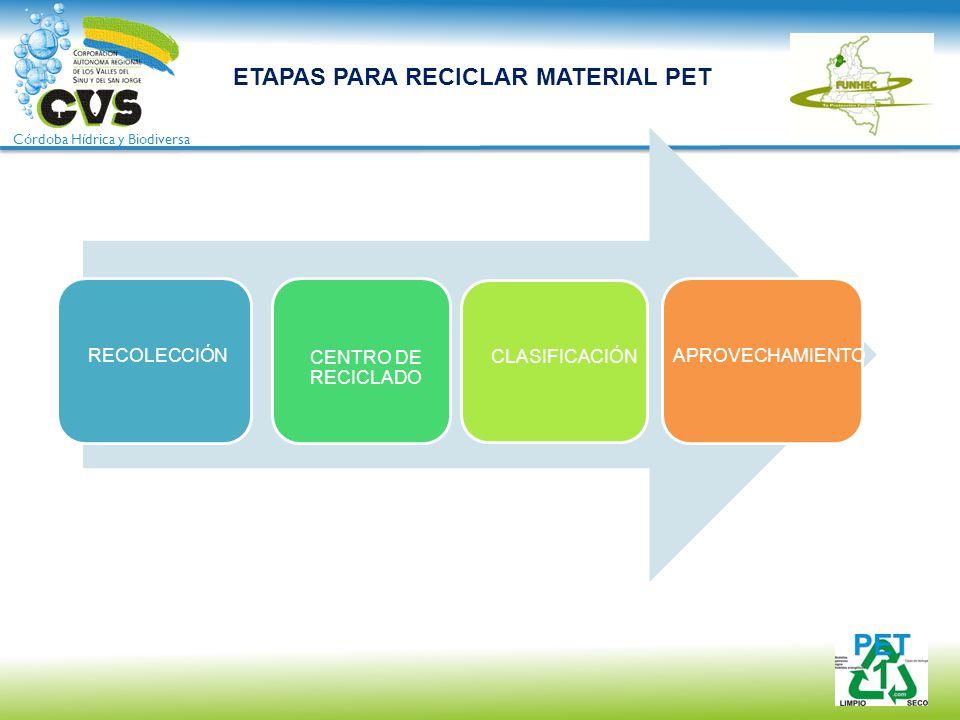 Córdoba Hídrica y Biodiversa ETAPAS PARA RECICLAR MATERIAL PET RECOLECCIÓN CENTRO DE RECICLADO CLASIFICACIÓN APROVECHAMIENTO