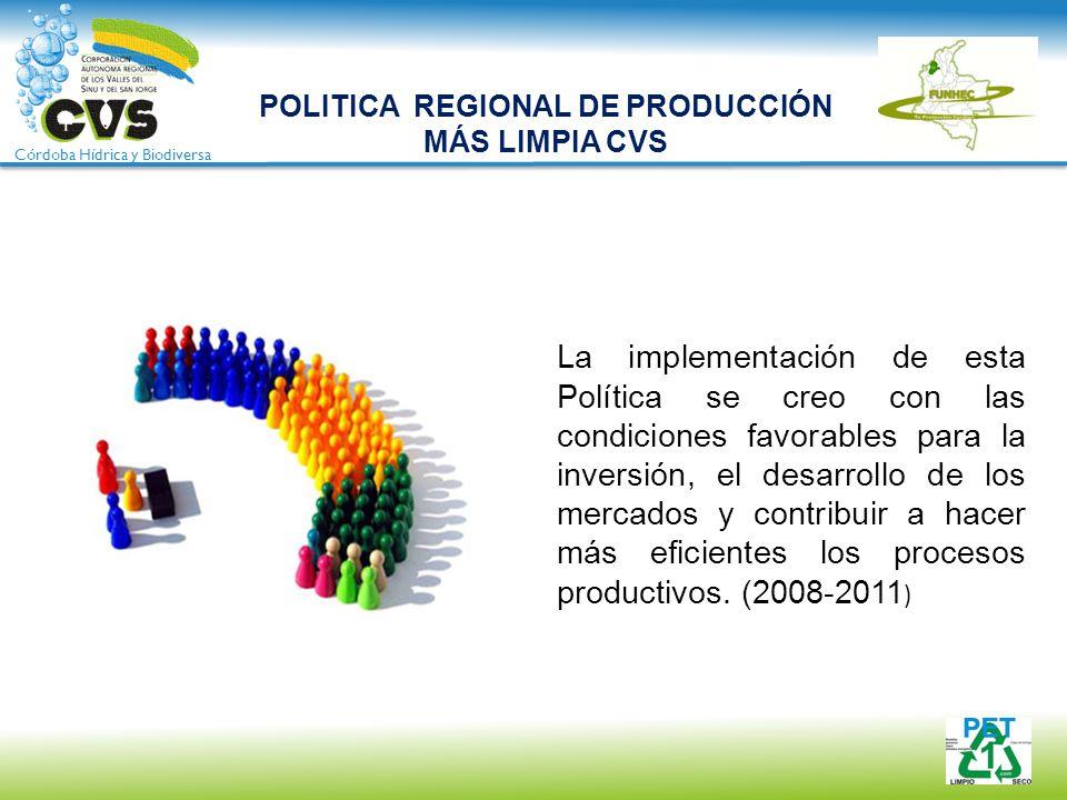 Córdoba Hídrica y Biodiversa POLITICA REGIONAL DE PRODUCCIÓN MÁS LIMPIA CVS La implementación de esta Política se creo con las condiciones favorables