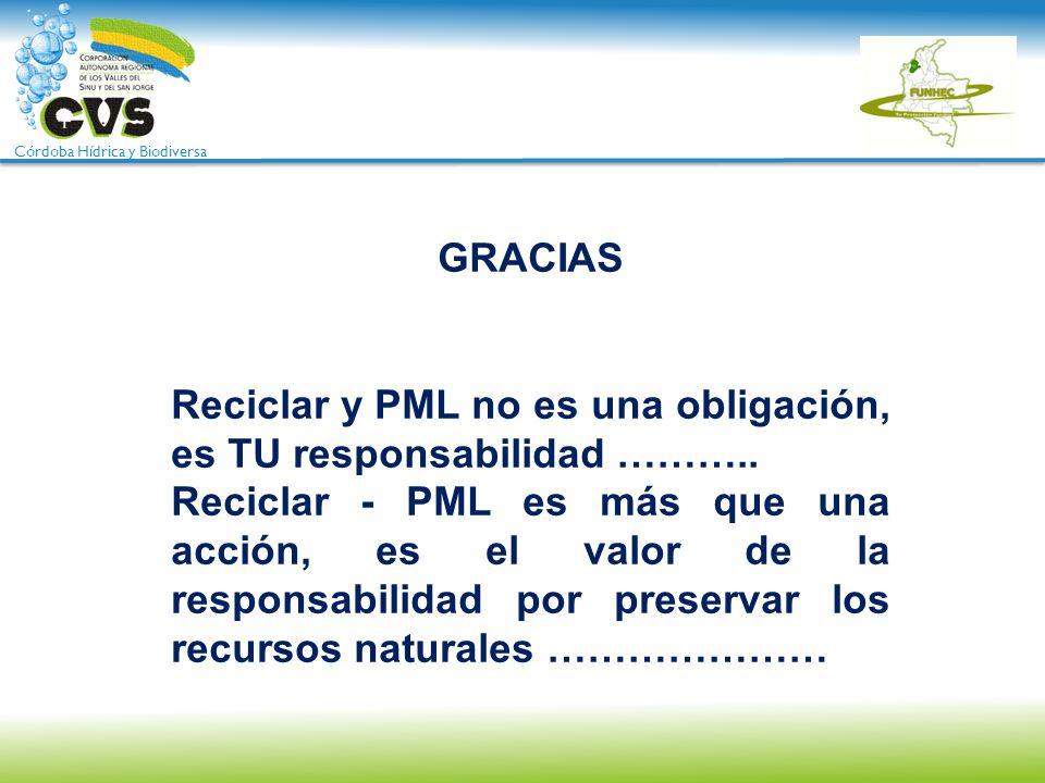 GRACIAS Reciclar y PML no es una obligación, es TU responsabilidad ……….. Reciclar - PML es más que una acción, es el valor de la responsabilidad por p