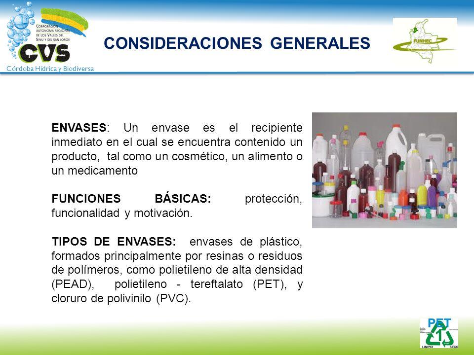 Córdoba Hídrica y Biodiversa CONSIDERACIONES GENERALES ENVASES: Un envase es el recipiente inmediato en el cual se encuentra contenido un producto, ta