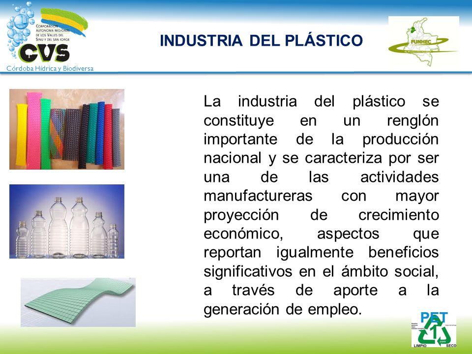 Córdoba Hídrica y Biodiversa INDUSTRIA DEL PLÁSTICO La industria del plástico se constituye en un renglón importante de la producción nacional y se ca