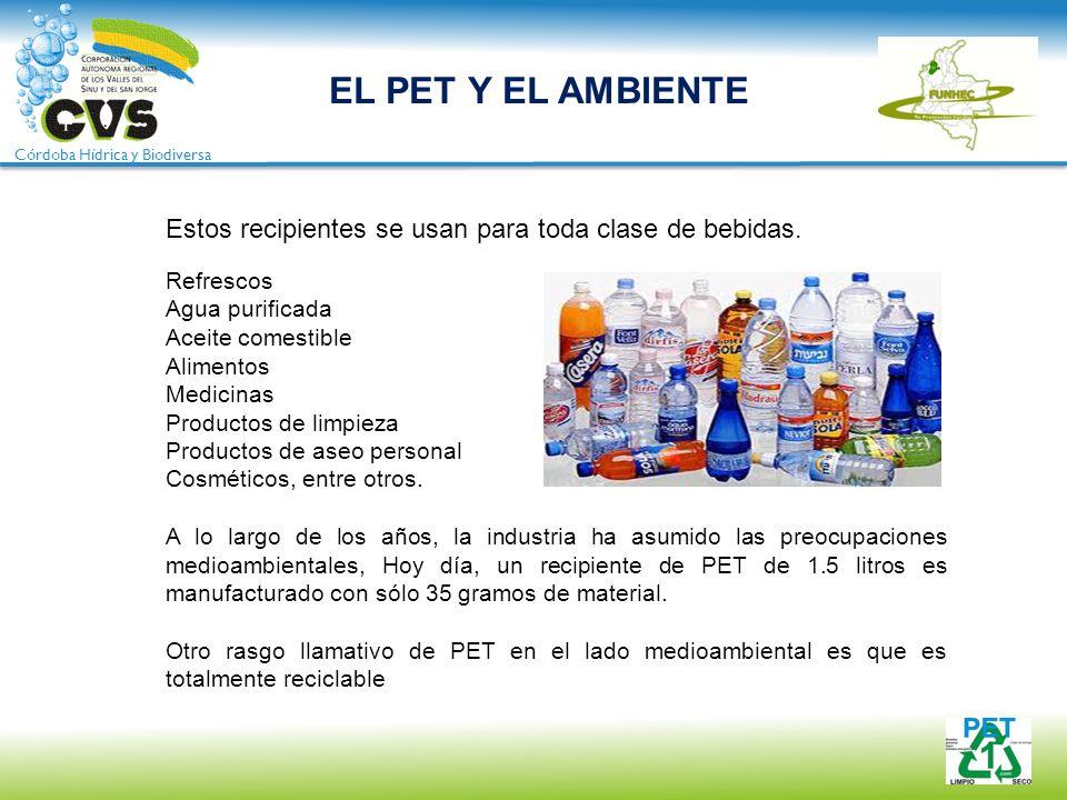 Córdoba Hídrica y Biodiversa EL PET Y EL AMBIENTE Estos recipientes se usan para toda clase de bebidas. Refrescos Agua purificada Aceite comestible Al