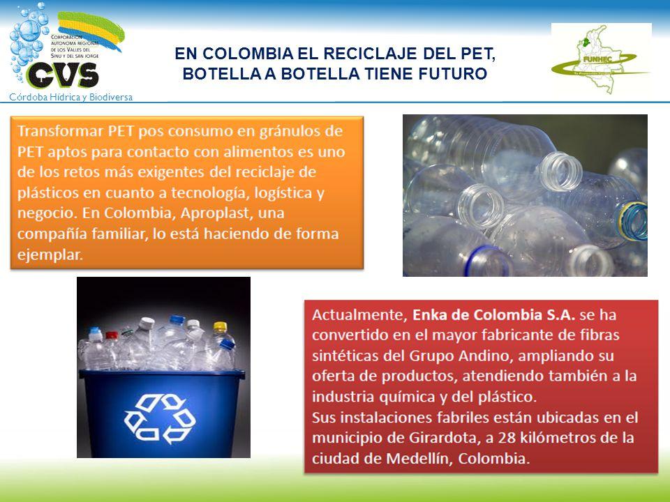 Córdoba Hídrica y Biodiversa EN COLOMBIA EL RECICLAJE DEL PET, BOTELLA A BOTELLA TIENE FUTURO