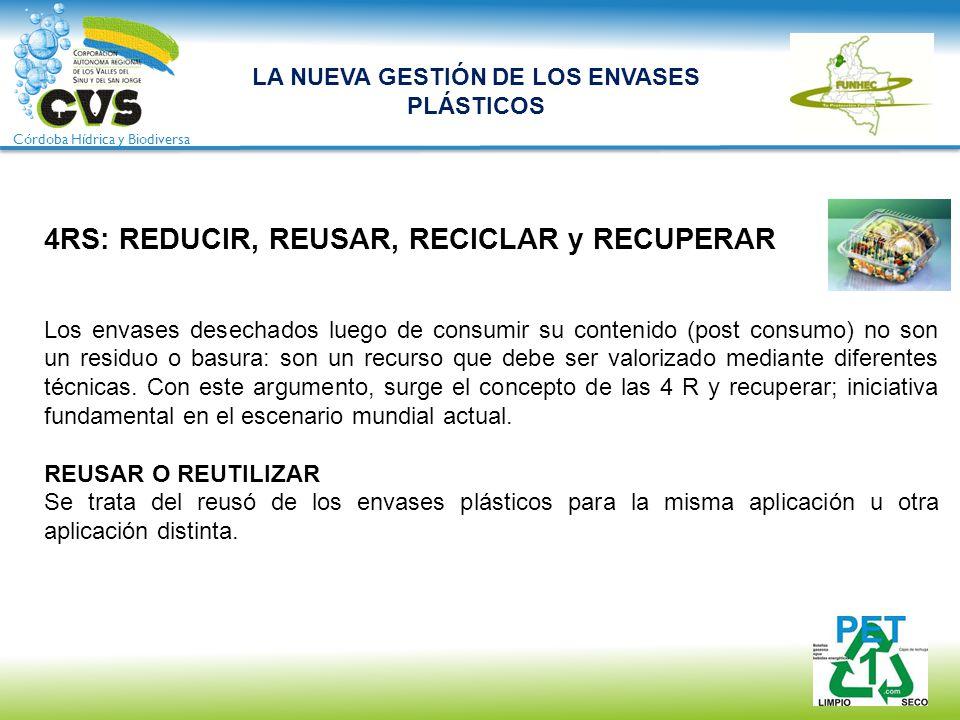 Córdoba Hídrica y Biodiversa 4RS: REDUCIR, REUSAR, RECICLAR y RECUPERAR Los envases desechados luego de consumir su contenido (post consumo) no son un