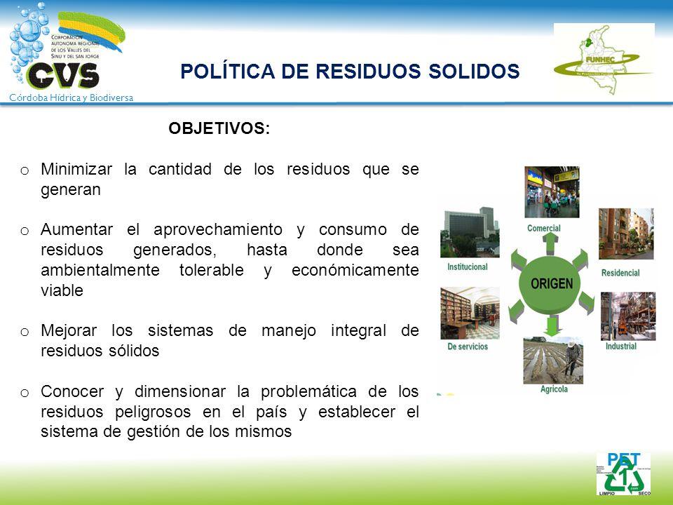 Córdoba Hídrica y Biodiversa OBJETIVOS: o Minimizar la cantidad de los residuos que se generan o Aumentar el aprovechamiento y consumo de residuos gen