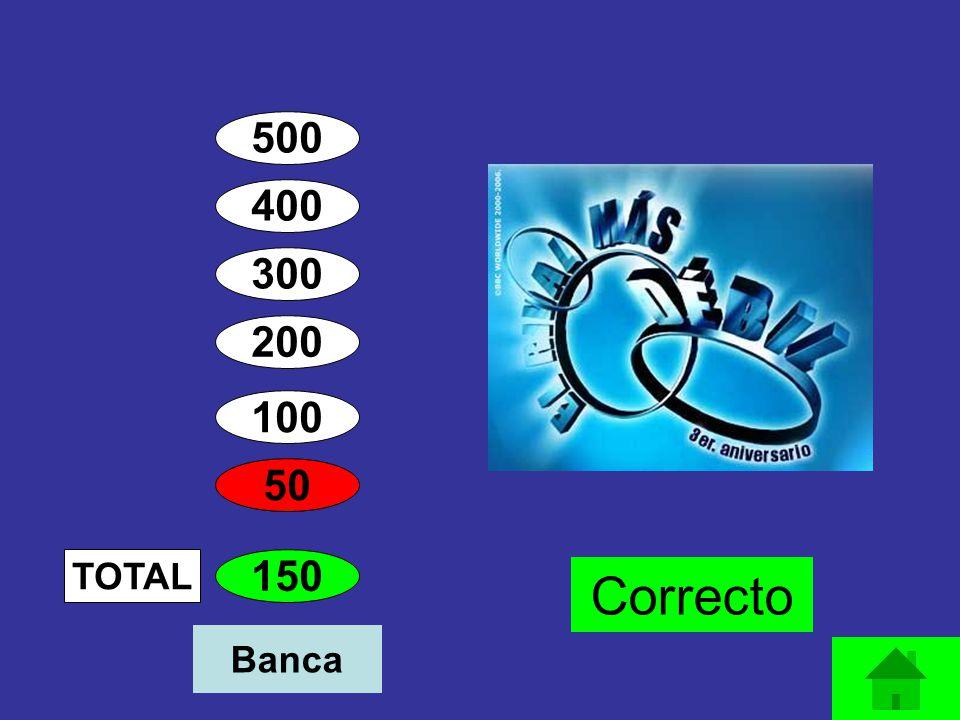 400 300 200 100 50 150 TOTAL Correcto