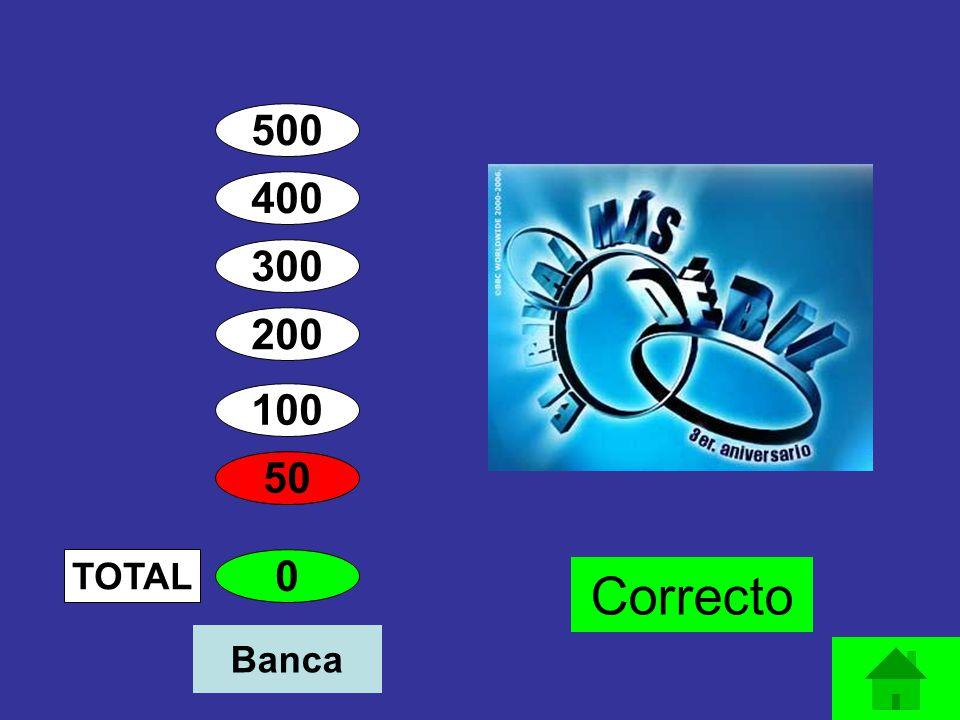 500 400 300 200 100 50 0 TOTAL Correcto Banca