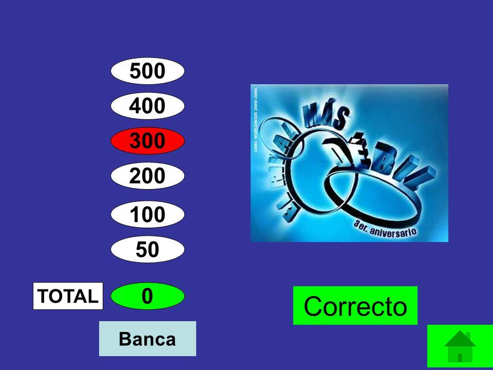 400 300 200 100 50 400 TOTAL Correcto