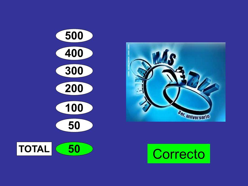 500 400 300 200 100 50 100 TOTAL Banca Correcto