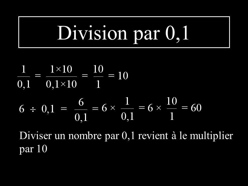 Division par 0,1 Diviser un nombre par 0,1 revient à le multiplier par 10