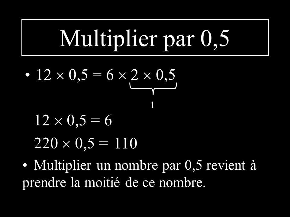 Multiplier par 0,5 12 0,5 = 6 2 0,5 1 12 0,5 = 6 220 0,5 = Multiplier un nombre par 0,5 revient à prendre la moitié de ce nombre.