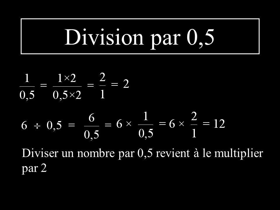 Division par 0,5 Diviser un nombre par 0,5 revient à le multiplier par 2