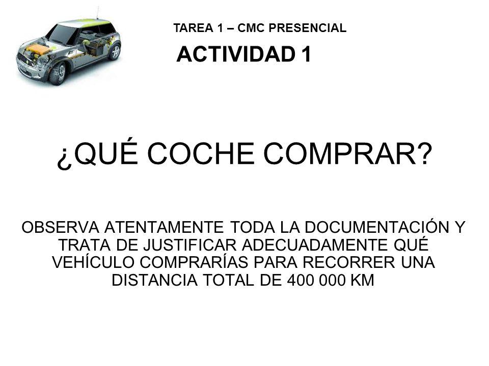 TAREA 1 – CMC PRESENCIAL OPCIÓN 1 ACTIVIDAD 1 Precios combustibles: Gasolina: 1,6 /L Diesel: 1,4 /L