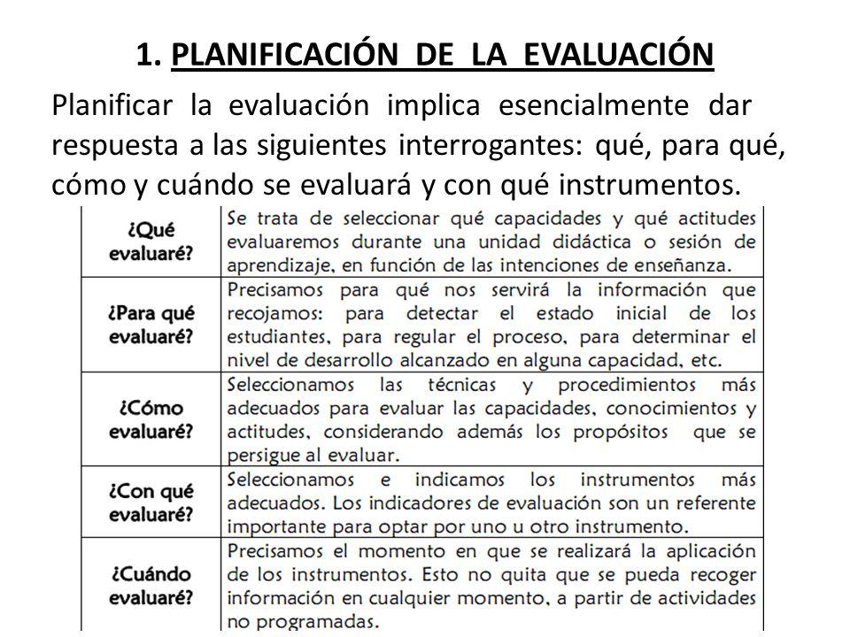 1. PLANIFICACIÓN DE LA EVALUACIÓN Planificar la evaluación implica esencialmente dar respuesta a las siguientes interrogantes: qué, para qué, cómo y c