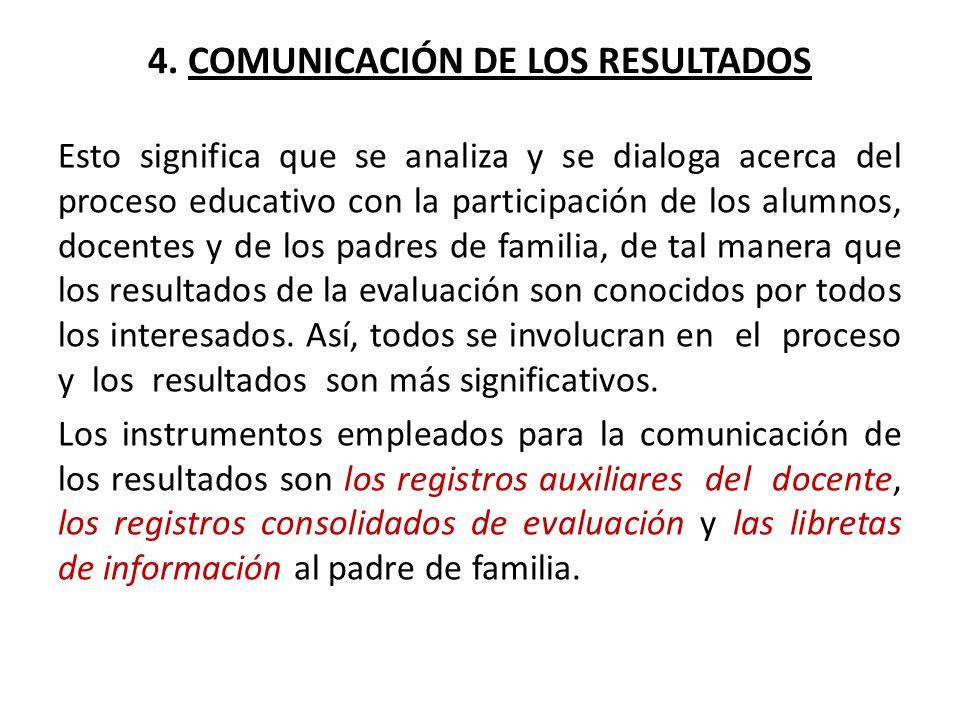 4. COMUNICACIÓN DE LOS RESULTADOS Esto significa que se analiza y se dialoga acerca del proceso educativo con la participación de los alumnos, docente