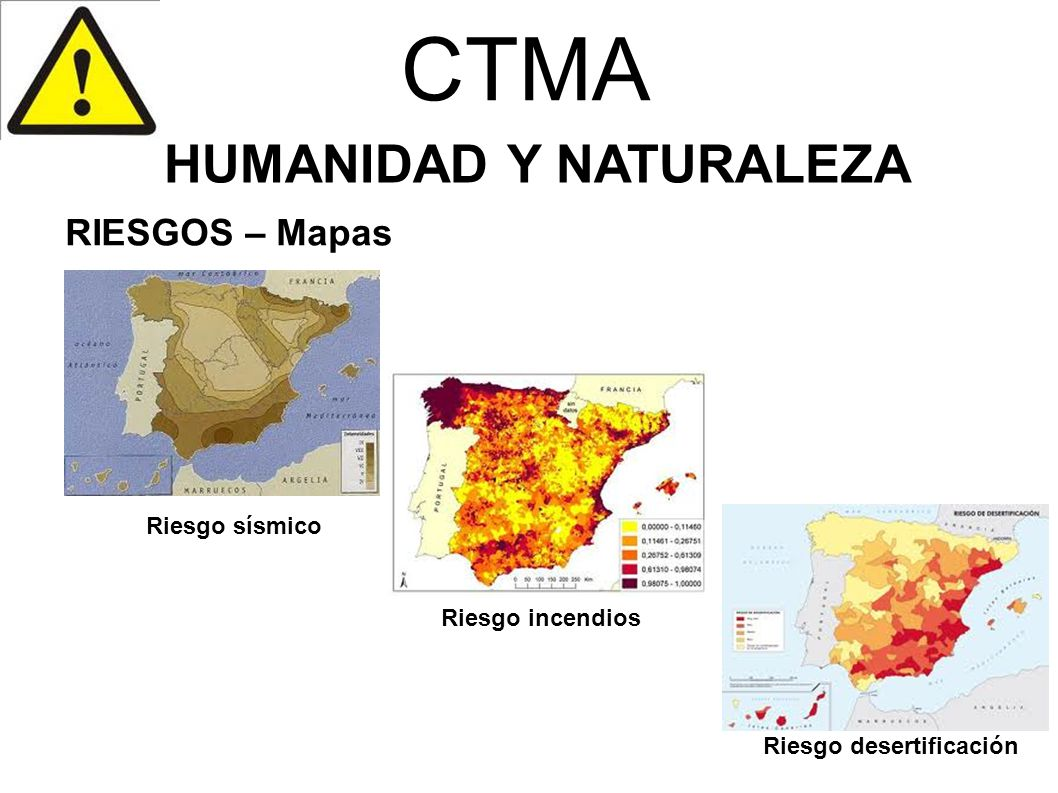 CTMA HUMANIDAD Y NATURALEZA RIESGOS – Mapas Riesgo sísmico Riesgo incendios Riesgo desertificación