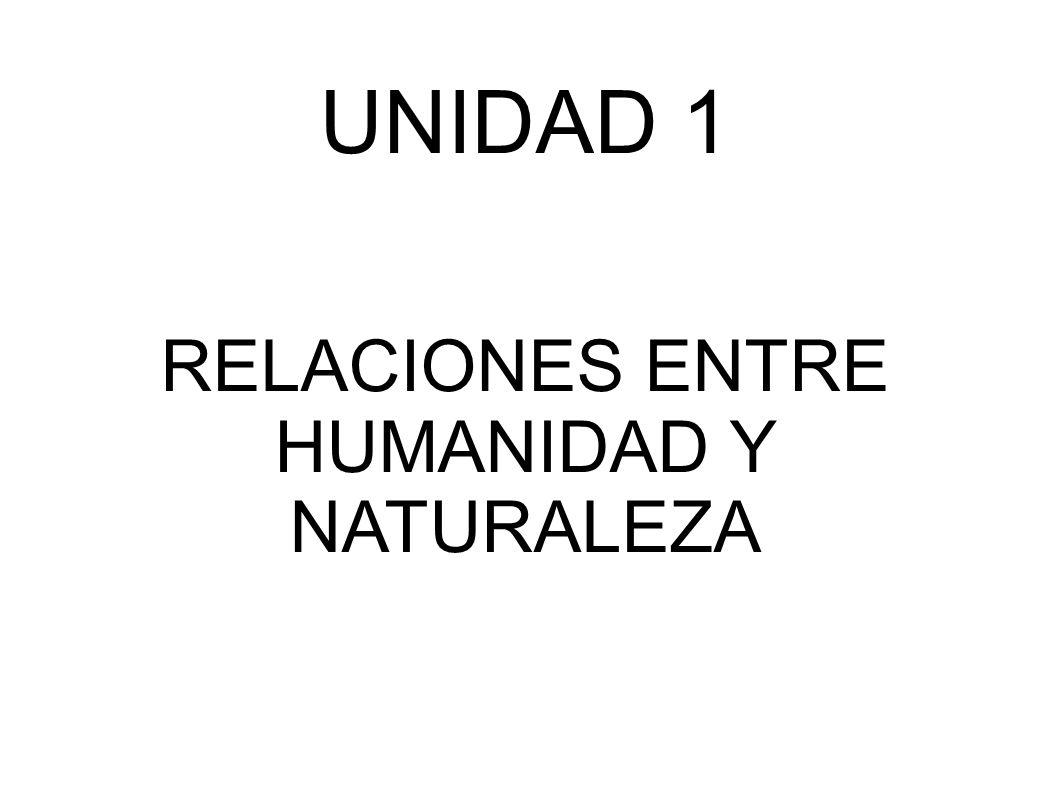 UNIDAD 1 RELACIONES ENTRE HUMANIDAD Y NATURALEZA