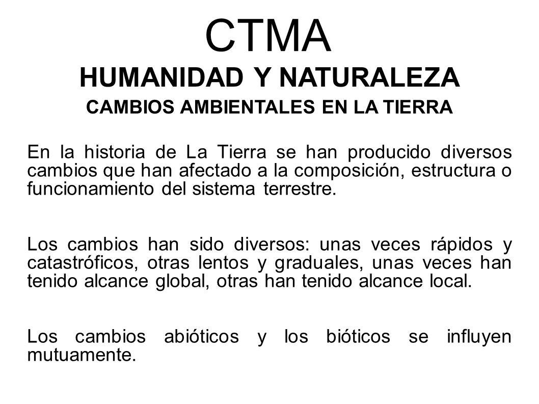 CTMA HUMANIDAD Y NATURALEZA CAMBIOS AMBIENTALES EN LA TIERRA En la historia de La Tierra se han producido diversos cambios que han afectado a la compo