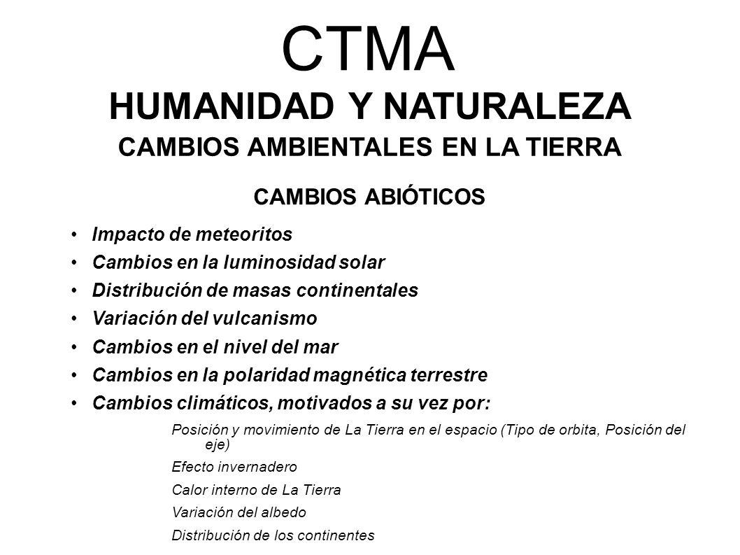 CTMA HUMANIDAD Y NATURALEZA CAMBIOS AMBIENTALES EN LA TIERRA CAMBIOS ABIÓTICOS Impacto de meteoritos Cambios en la luminosidad solar Distribución de m