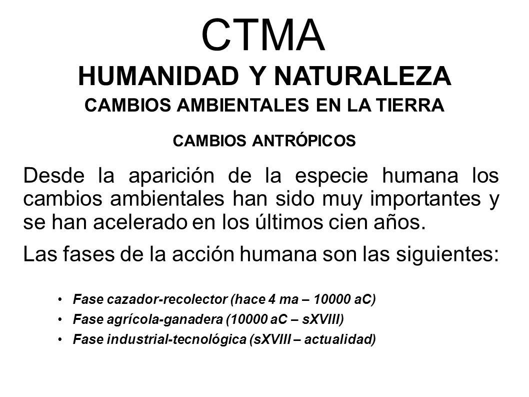 CTMA HUMANIDAD Y NATURALEZA CAMBIOS AMBIENTALES EN LA TIERRA CAMBIOS ANTRÓPICOS Fase cazador-recolector (hace 4 ma – 10000 aC) Fase agrícola-ganadera