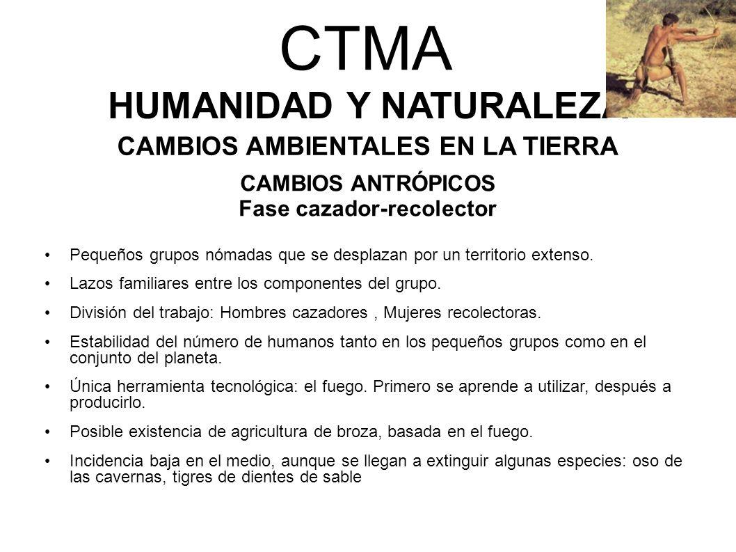 CTMA HUMANIDAD Y NATURALEZA CAMBIOS AMBIENTALES EN LA TIERRA CAMBIOS ANTRÓPICOS Fase cazador-recolector Pequeños grupos nómadas que se desplazan por u