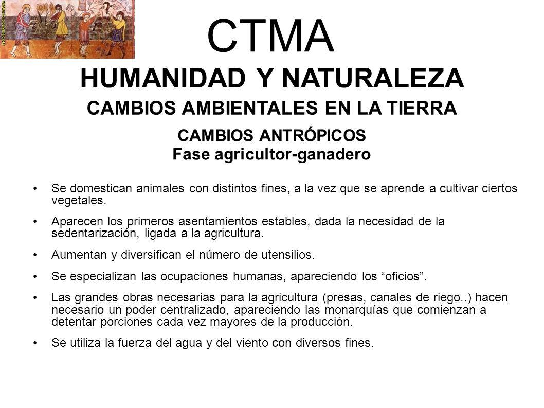CTMA HUMANIDAD Y NATURALEZA CAMBIOS AMBIENTALES EN LA TIERRA CAMBIOS ANTRÓPICOS Fase agricultor-ganadero Se domestican animales con distintos fines, a