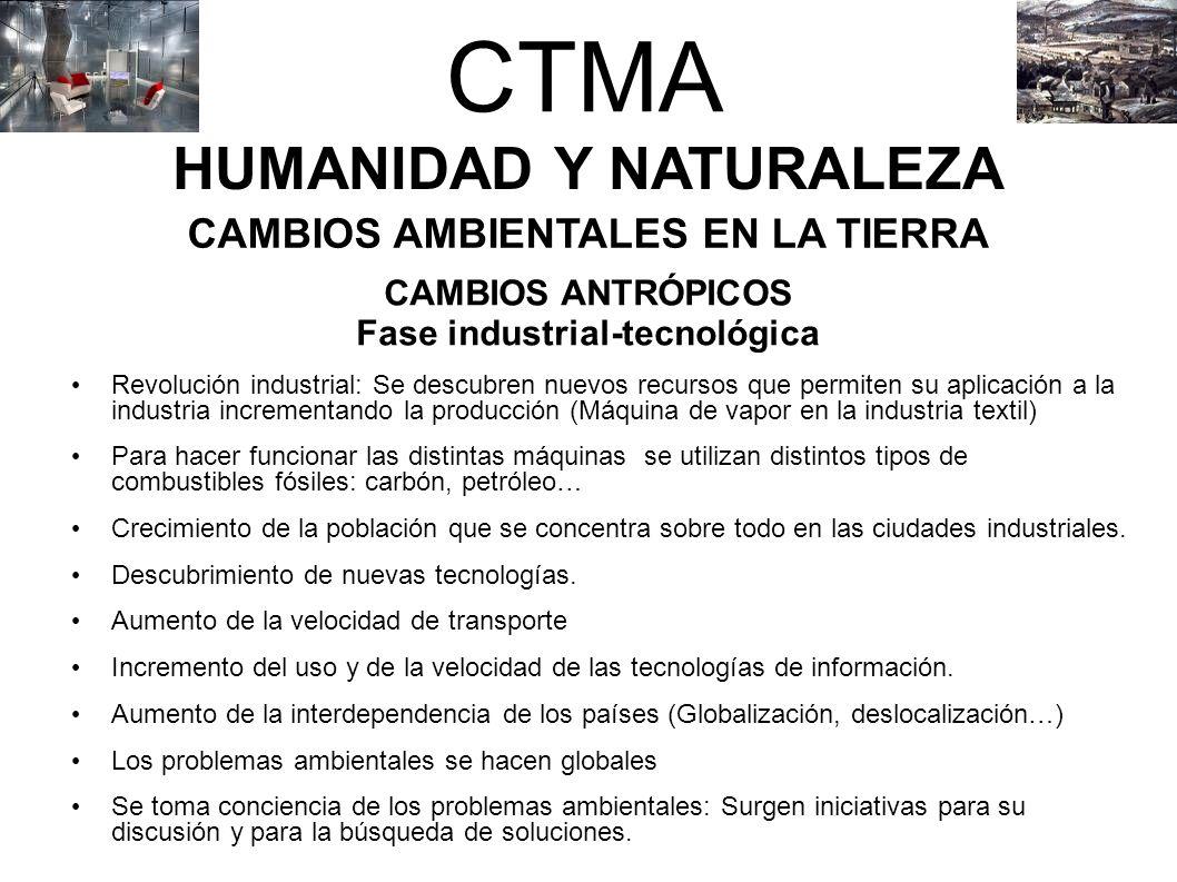 CTMA HUMANIDAD Y NATURALEZA CAMBIOS AMBIENTALES EN LA TIERRA CAMBIOS ANTRÓPICOS Fase industrial-tecnológica Revolución industrial: Se descubren nuevos