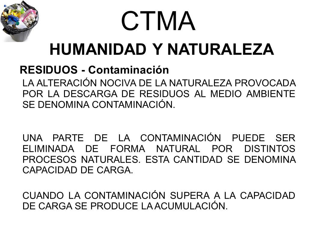 CTMA HUMANIDAD Y NATURALEZA LA ALTERACIÓN NOCIVA DE LA NATURALEZA PROVOCADA POR LA DESCARGA DE RESIDUOS AL MEDIO AMBIENTE SE DENOMINA CONTAMINACIÓN. U