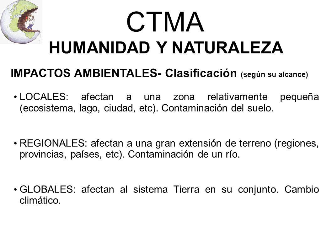 CTMA HUMANIDAD Y NATURALEZA LOCALES: afectan a una zona relativamente pequeña (ecosistema, lago, ciudad, etc). Contaminación del suelo. REGIONALES: af