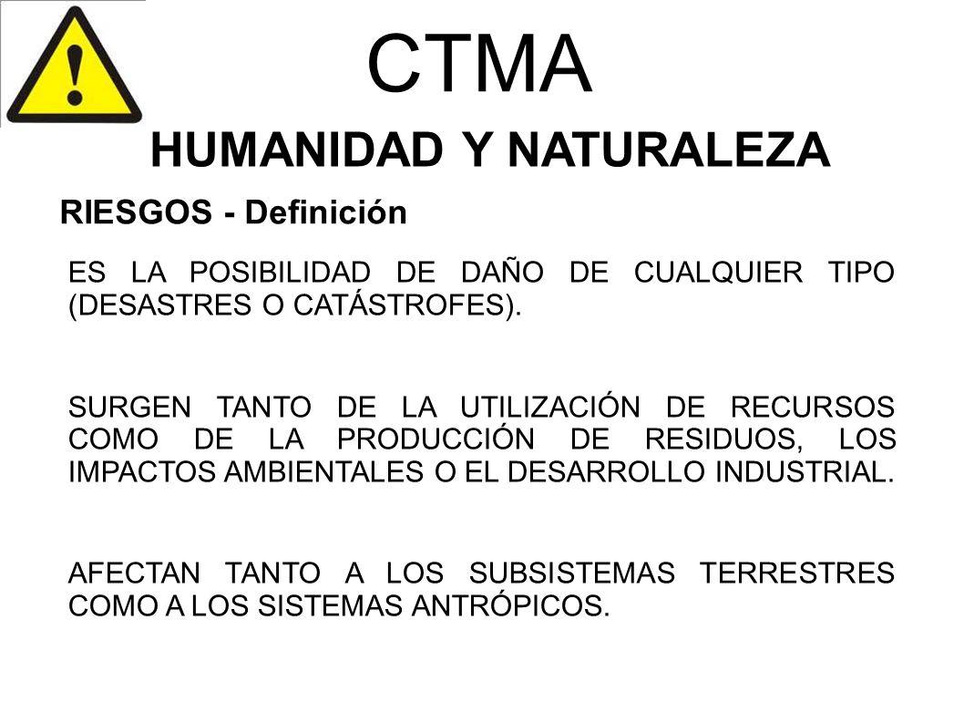 CTMA HUMANIDAD Y NATURALEZA ES LA POSIBILIDAD DE DAÑO DE CUALQUIER TIPO (DESASTRES O CATÁSTROFES). SURGEN TANTO DE LA UTILIZACIÓN DE RECURSOS COMO DE
