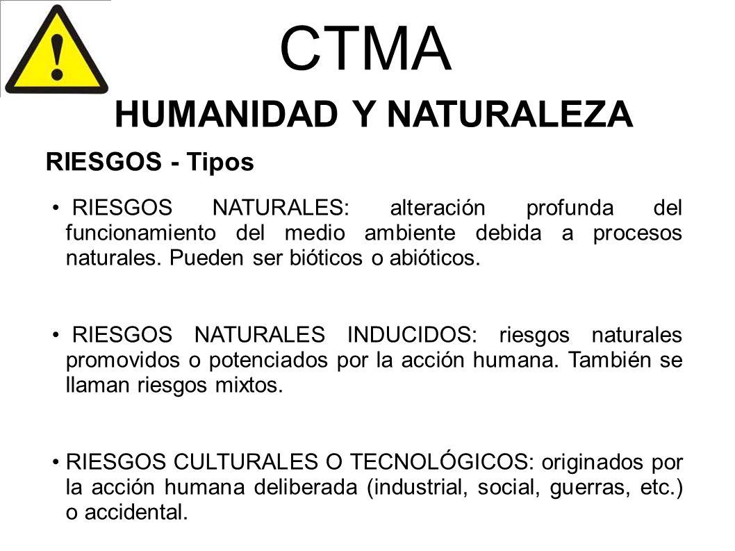 CTMA HUMANIDAD Y NATURALEZA RIESGOS NATURALES: alteración profunda del funcionamiento del medio ambiente debida a procesos naturales. Pueden ser bióti
