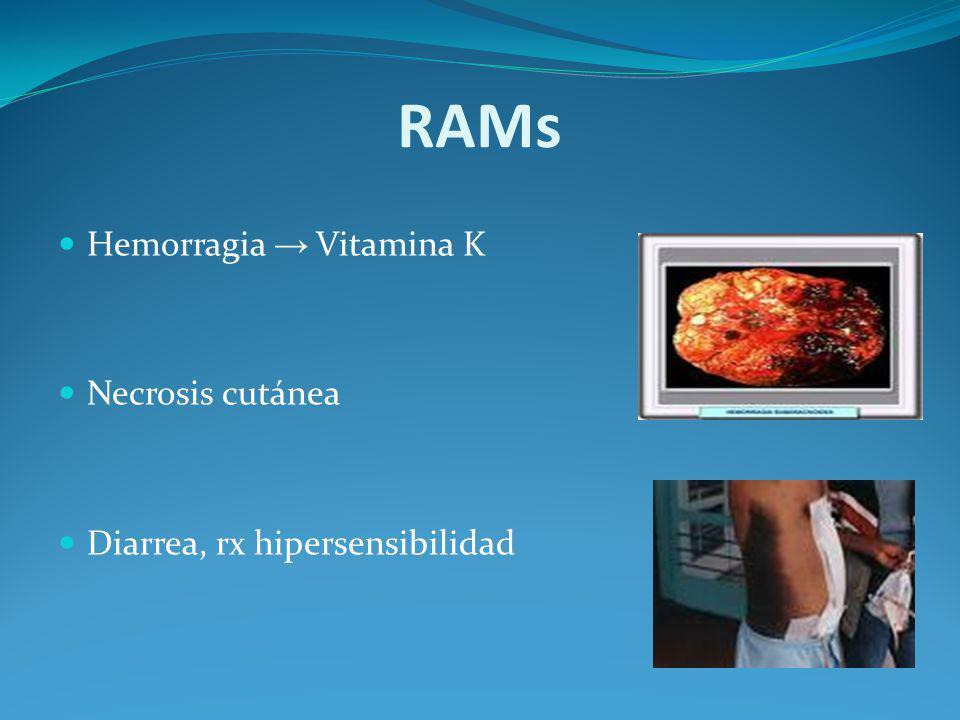 RAMs Hemorragia Vitamina K Necrosis cutánea Diarrea, rx hipersensibilidad