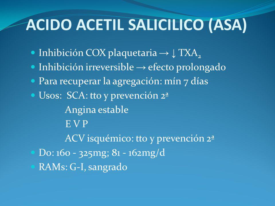 ACIDO ACETIL SALICILICO (ASA) Inhibición COX plaquetaria TXA 2 Inhibición irreversible efecto prolongado Para recuperar la agregación: mín 7 días Usos