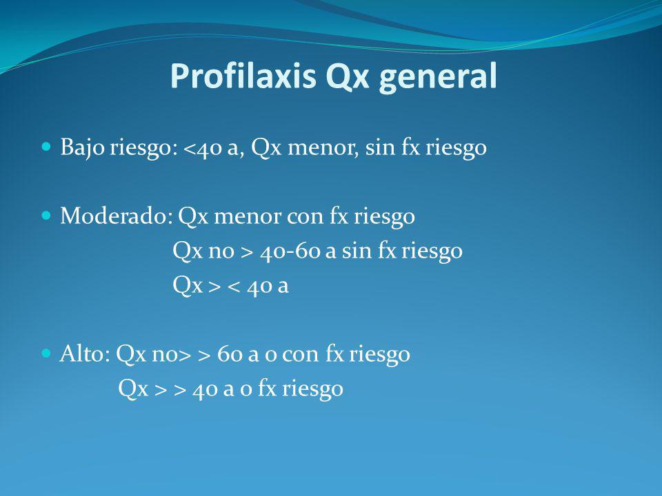 Profilaxis Qx general Bajo riesgo: <40 a, Qx menor, sin fx riesgo Moderado: Qx menor con fx riesgo Qx no > 40-60 a sin fx riesgo Qx > < 40 a Alto: Qx