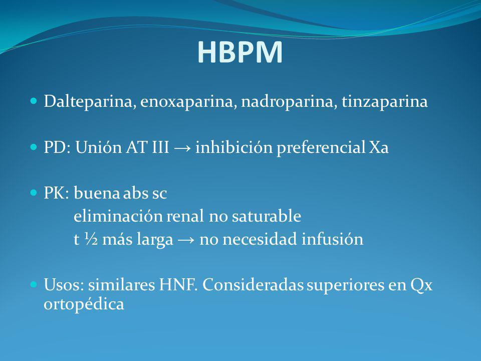 HBPM Dalteparina, enoxaparina, nadroparina, tinzaparina PD: Unión AT III inhibición preferencial Xa PK: buena abs sc eliminación renal no saturable t