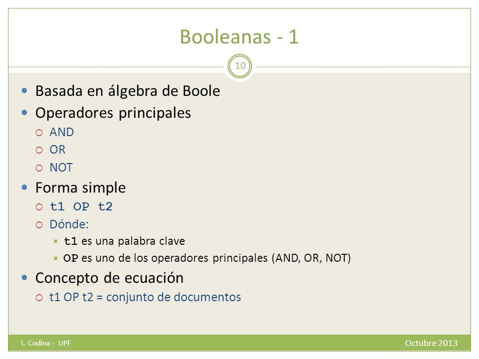 Booleanas - 1 Basada en álgebra de Boole Operadores principales AND OR NOT Forma simple t1 OP t2 Dónde: t1 es una palabra clave OP es uno de los operadores principales (AND, OR, NOT) Concepto de ecuación t1 OP t2 = conjunto de documentos L.