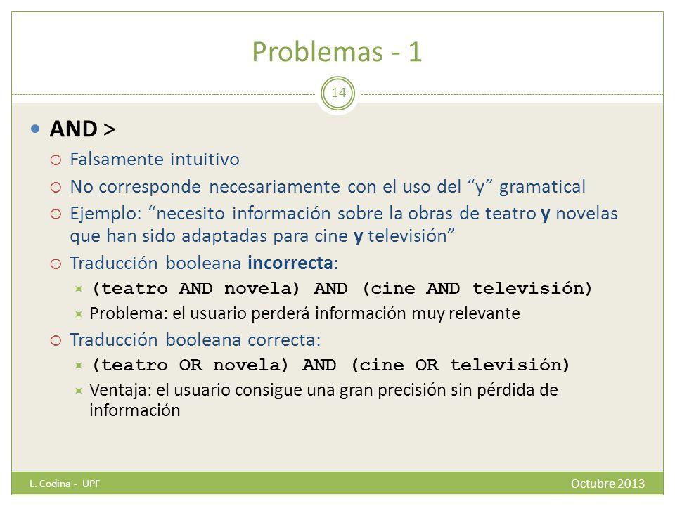 Problemas - 1 AND > Falsamente intuitivo No corresponde necesariamente con el uso del y gramatical Ejemplo: necesito información sobre la obras de tea