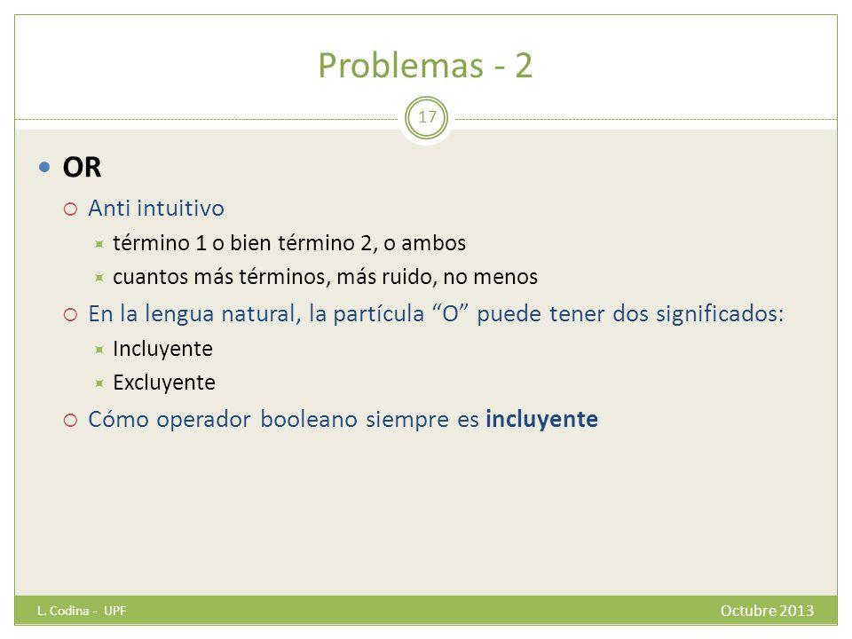 Problemas - 2 OR Anti intuitivo término 1 o bien término 2, o ambos cuantos más términos, más ruido, no menos En la lengua natural, la partícula O pue