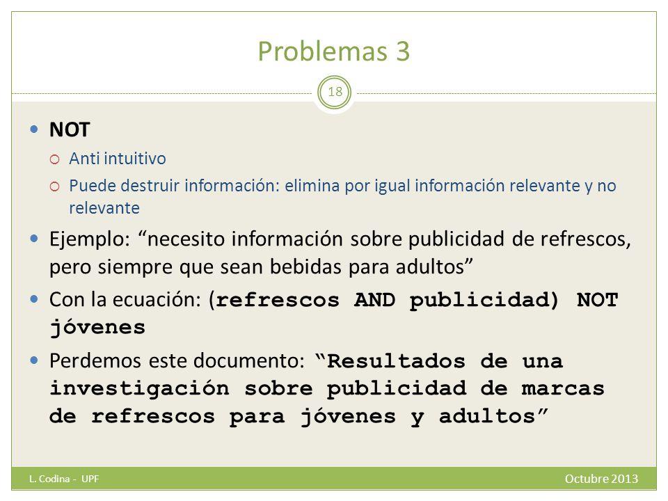 Problemas 3 NOT Anti intuitivo Puede destruir información: elimina por igual información relevante y no relevante Ejemplo: necesito información sobre