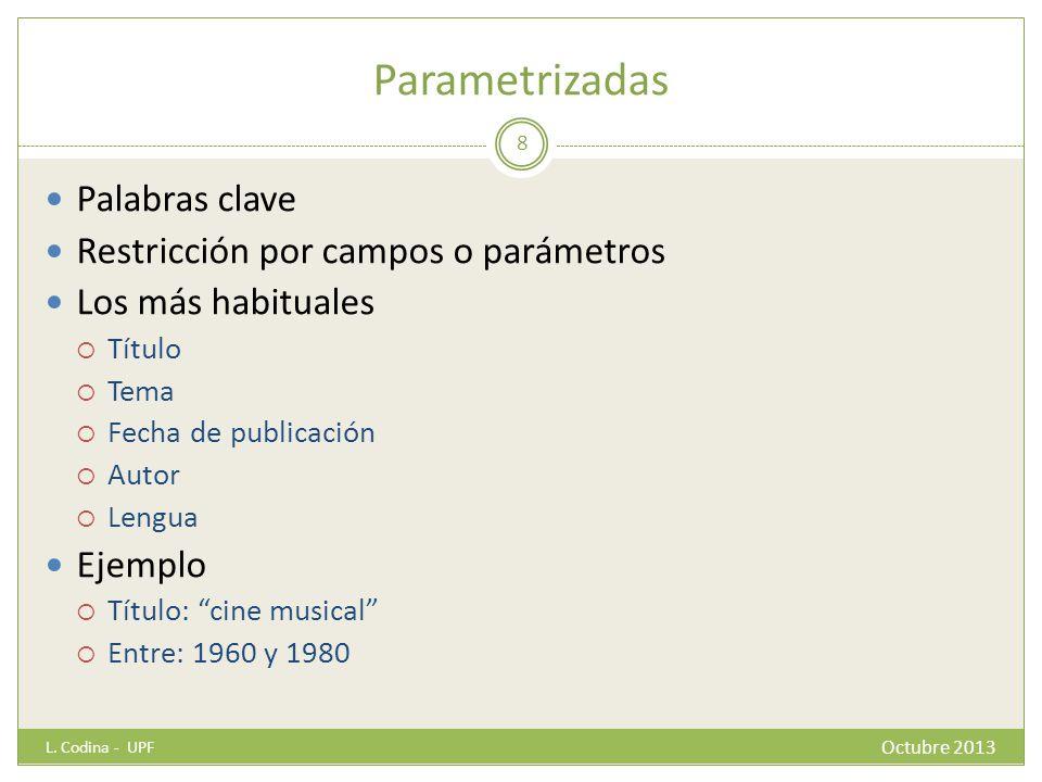 Parametrizadas Palabras clave Restricción por campos o parámetros Los más habituales Título Tema Fecha de publicación Autor Lengua Ejemplo Título: cin