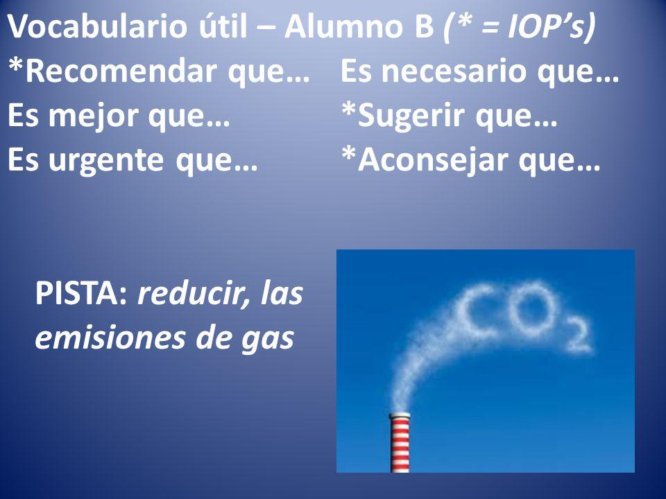 Vocabulario útil – Alumno B (* = IOPs) *Recomendar que…Es necesario que… Es mejor que…*Sugerir que… Es urgente que…*Aconsejar que… PISTA: reducir, las emisiones de gas