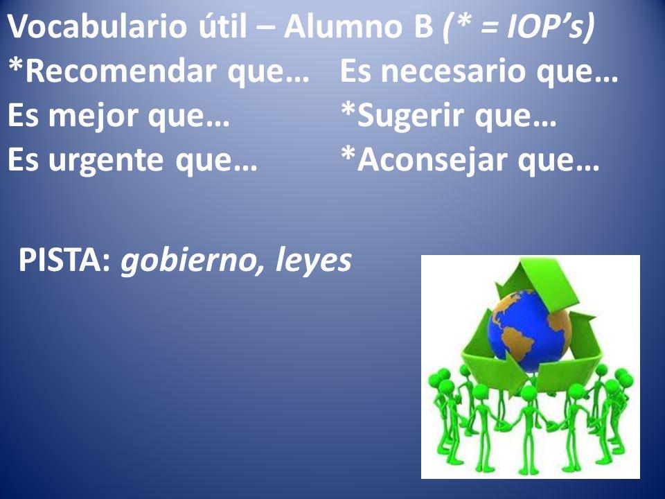 Vocabulario útil – Alumno B (* = IOPs) *Recomendar que…Es necesario que… Es mejor que…*Sugerir que… Es urgente que…*Aconsejar que… PISTA: gobierno, leyes
