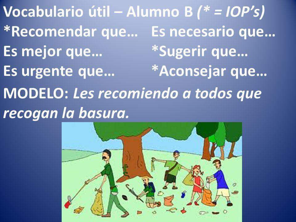 Vocabulario útil – Alumno B (* = IOPs) *Recomendar que…Es necesario que… Es mejor que…*Sugerir que… Es urgente que…*Aconsejar que… MODELO: Les recomiendo a todos que recogan la basura.