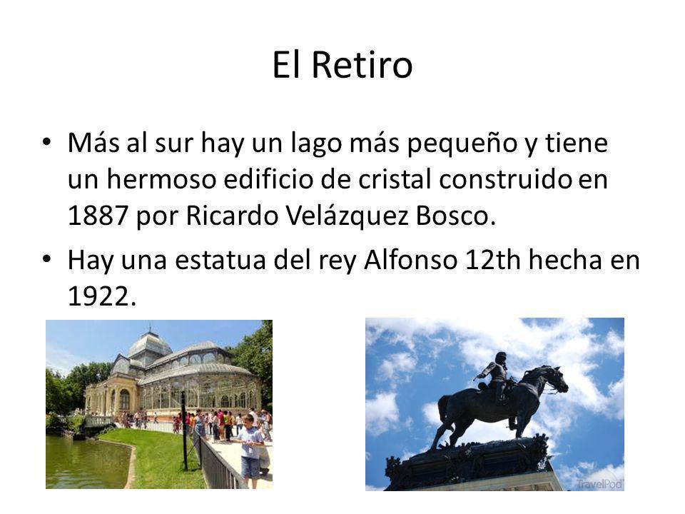 El Retiro Más al sur hay un lago más pequeño y tiene un hermoso edificio de cristal construido en 1887 por Ricardo Velázquez Bosco. Hay una estatua de