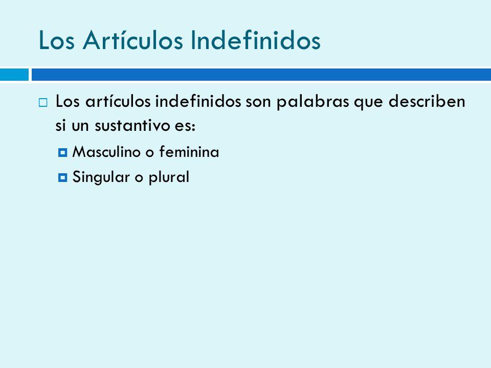 Los Artículos Indefinidos Los artículos indefinidos son palabras que describen si un sustantivo es: Masculino o feminina Singular o plural